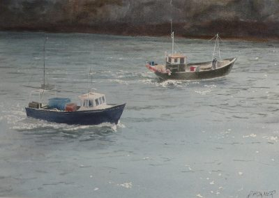 Fishing Boats Leaving Porthleven Harbour